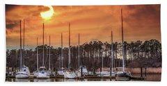 Boat Marina On The Chesapeake Bay At Sunset Beach Towel