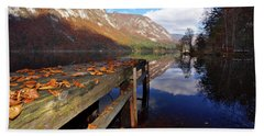 Boat Mooring At Lake Bohijn Beach Towel by Graham Hawcroft pixsellpix