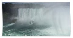 Boat Near Niagara Falls Beach Towel