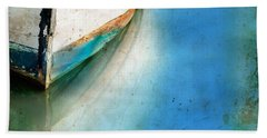 Bow Of An Old Boat Reflecting In Water Beach Towel by Jill Battaglia