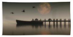 Boat On A Lake With Geese Flying Over Beach Towel