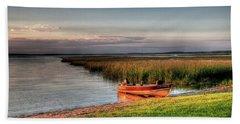 Boat On A Minnesota Lake Beach Towel