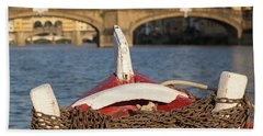 Boat On The Arno River,  Beach Towel