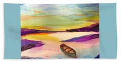 Boat On The River Beach Towel