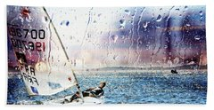 Boat On The Sea Beach Towel