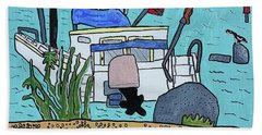Boat On The Shore Beach Towel by Artists With Autism Inc