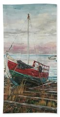 Boat On The Shore Beach Towel