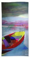 Boat On Whiskey Lake Beach Towel