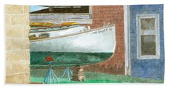 Boat Out Of Water - Portland Maine Beach Towel