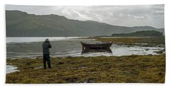Boat Seaweed And Photographer In Isle Of Skye, Uk Beach Sheet