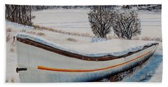 Boat Under Snow Beach Towel