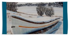 Beach Towel featuring the painting Boat Under Snow by Marilyn  McNish