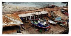 Boat Yard Iquique Harbor Chile Beach Towel