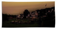 Beach Towel featuring the photograph Boathouse Row From The Lagoon Before Dawn by Bill Cannon