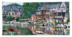 Boathouse Row In Philadelphia Beach Towel by Bill Cannon