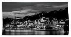 Boathouse Row Philadelphia Pa Night Black And White Beach Sheet