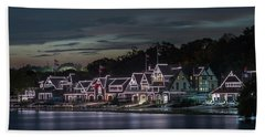 Boathouse Row Philly Pa Night Beach Sheet