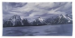 Beach Towel featuring the painting Boating Jenny Lake, Grand Tetons by Erin Fickert-Rowland