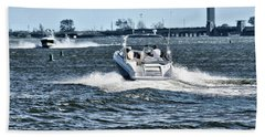 Boating Off Of Jones Beach Beach Towel by Mikki Cucuzzo