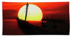 Boatman Enjoying Sunset Beach Towel
