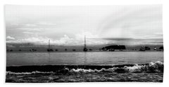 Boats And Clouds Beach Towel