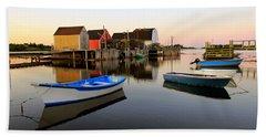 Boats And Fish Shacks At Blue Rocks, Nova Scotia Beach Sheet
