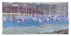 Beach Towel featuring the painting Boats At Hamble Marina by Martin Davey