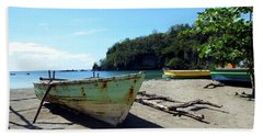 Beach Towel featuring the photograph Boats At La Soufriere, St. Lucia by Kurt Van Wagner