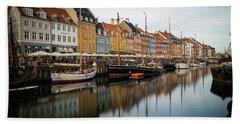 Boats At Nyhavn In Copenhagen Beach Sheet