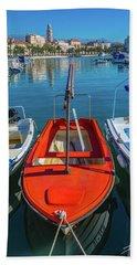 Boats At Rovinj Beach Towel