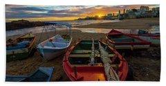 Boats At Sunset, Bahia, Brazil Beach Sheet