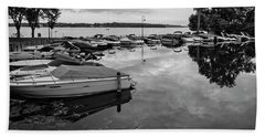Boats At Wayzata Beach Towel by Susan Stone