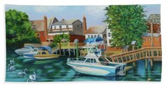Boats Behind Cross Bay Blvd. Beach Towel