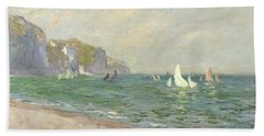 Boats Below The Cliffs At Pourville Beach Towel