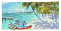 Beach Sheet featuring the painting Boats  by Dmitry Spiros