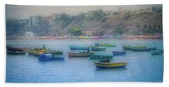 Beach Towel featuring the photograph Boats In Blue Twilight - Lima, Peru by Mary Machare