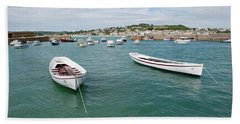 Boats In Habour Beach Towel