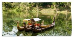 Boats In Lake Ankor Thom Beach Towel