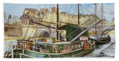 Boats In Paris, Pont Neuf Beach Towel