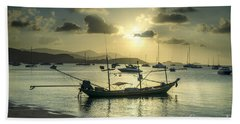 Boats In The Bay Beach Towel