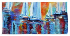 Boats In The Sunset Beach Towel