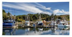 Beach Towel featuring the photograph Boats In Winchester Bay by James Eddy