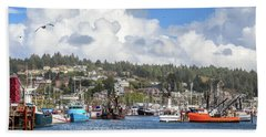 Boats In Yaquina Bay Beach Towel by James Eddy