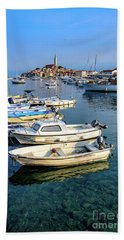 Boats Of The Adriatic, Rovinj, Istria, Croatia  Beach Towel