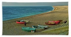 Beach Towel featuring the photograph Boats On Chesil Beach by Anne Kotan