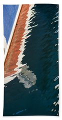 Boatside Reflection Beach Towel