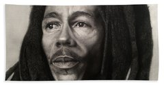 Bob Marley Drawing Beach Sheet