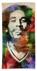 Bob Marley Watercolor Portrait Beach Towel