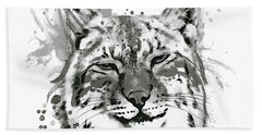 Bobcat Head Black And White Beach Towel