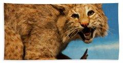 Beach Sheet featuring the digital art Bobcat On A Branch by Chris Flees